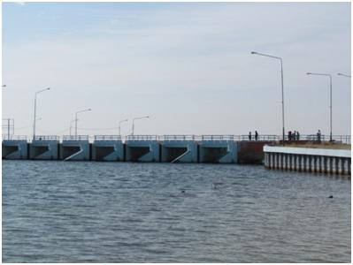 Рисунок 2. Верхний бьеф Кокаральской водопропускной плотины (26.09.2016г.).