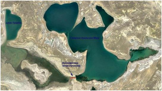Рисунок 4. Залив Тущебас и водосбросной канал (протока) Кокаральской плотины САМ