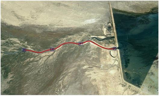 Рисунок 5. Маршруты гидрохимической съемки водосбросного канала (протоки) Кокаральской плотины САМ