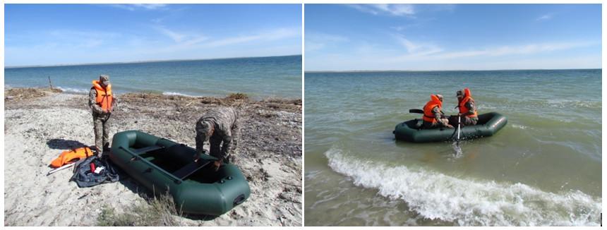 Подготовка и спуск надувной лодки на оз. Камыстыбас