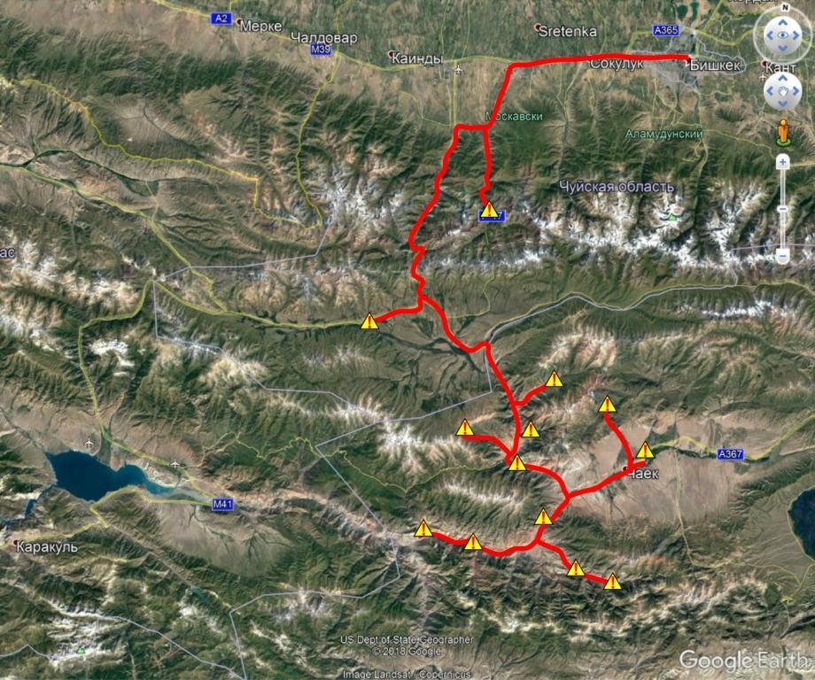 Расположение оползней и обвалов в долинах рек Сусамыр, Кокомерен, Ак-Су, которые были обследованы в ходе проведения школы