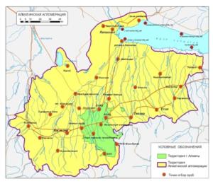 Схема мониторинговых точек наблюдении на территории Алматинской агломерации