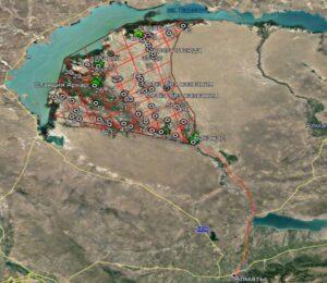 Схема точек отбора проб на территории прилегающей к дельте реки Иле, в т.ч. территории ГПР «Иле-Балкаш»